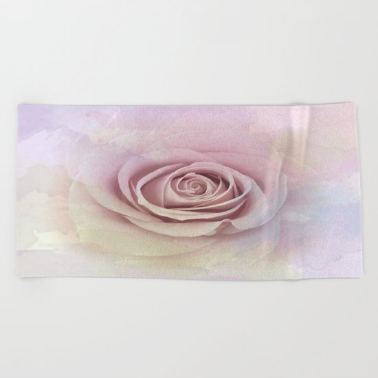 Forever My Love Pink Rose Abstract Beach Towel