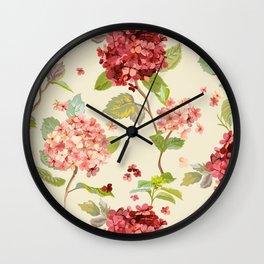 Fall Hydrangeas, Floral Print Wall Clock
