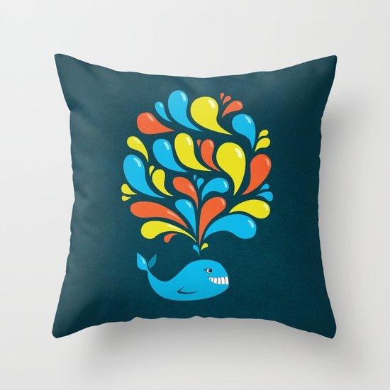 Dark Colorful Happy Cartoon Whale Throw Pillow