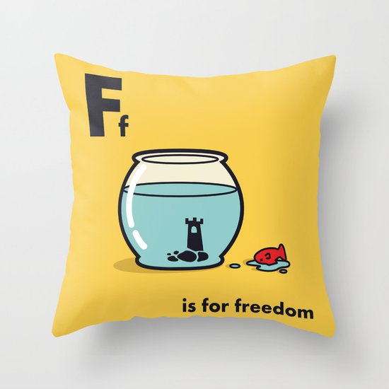 F is for freedom - the irony Throw Pillow
