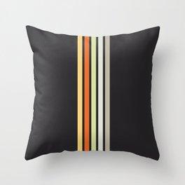Colorful Retro Stripes Black III Throw Pillow