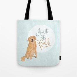 Heart of Gold // Golden Retriever Tote Bag
