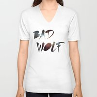 """dr who V-neck T-shirts featuring Dr. Who - """"Bad Wolf"""" by Noal's Corner"""
