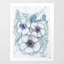 Anemone bouquet illustration watercolor and black ink painting Art Print
