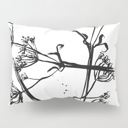 Nature illustration in black ink 1 Pillow Sham