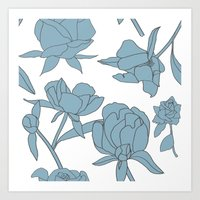 Roses in Blue Art Print