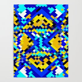 square pixel pattern abstract in blue and yellow Poster