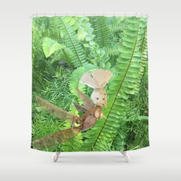 She Flies Around in the Spring Ferns Shower Curtain