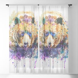 Colorful Grizzly Bear Sheer Curtain