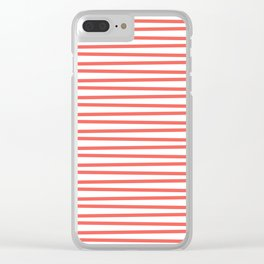 Bright coral and white thin horizontal stripes Clear iPhone Case