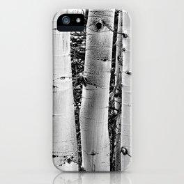 Three Aspens Black & White iPhone Case