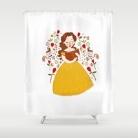 bookworm Shower Curtains featuring Rumbelle - Belle bookworm by lolia