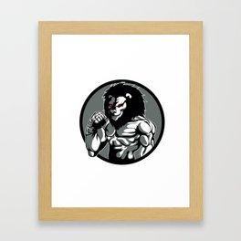 lion man MMA fighter pose Framed Art Print