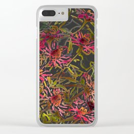 Zinnia Pink Abstract by CheyAnne Sexton Clear iPhone Case