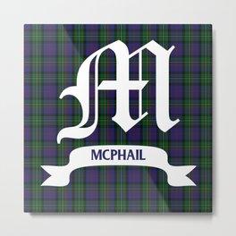 McPhail Tartan with Clan Name Metal Print