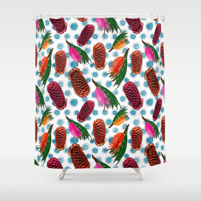 Beautiful Australian Native Floral Print - Grevillea and Beehive Ginger Shower Curtain