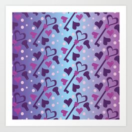 Whimsical Skeleton Keys and Hearts Ombre Gradient Pattern Art Print