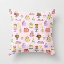 Cakes Cakes Cakes watercolor pattern Throw Pillow