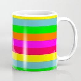 Neon Hawaiian Horizontal Rainbow Cabana Stripes Coffee Mug
