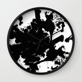 Black and white splat - Abstract, black paint splatter painting Wall Clock