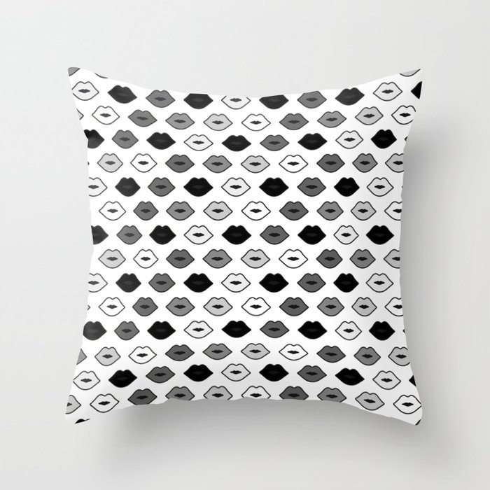 Chessboard Lips - Black and White Throw Pillow