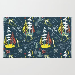 Retro Skiing  Rug