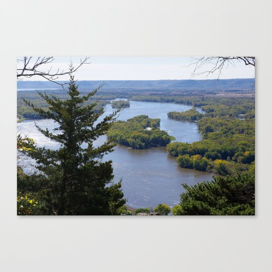 Upper Mississippi River, looking downriver from Buena Vista Park, Alma, WI Canvas Print