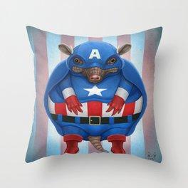 Captain Armadillo Throw Pillow