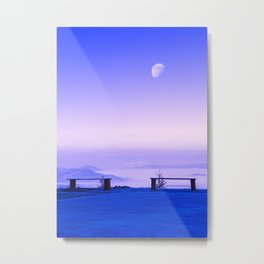 Above The Clouds, Under The Moon Metal Print