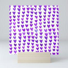 Brush stroke hearts - purple Mini Art Print