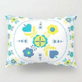 Folk Flowers in Yellow and Turquoise Pillow Sham
