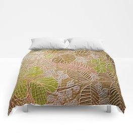 Embossed Golden Leaf Comforters