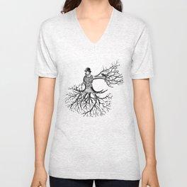 Black & White - Victorian Tatooed Tree Man Unisex V-Neck