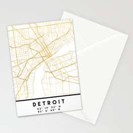 DETROIT MICHIGAN CITY STREET MAP ART Stationery Cards