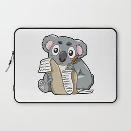 Writing Koala Cute Bill Author Writer Pencil Comic Laptop Sleeve