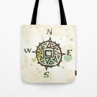 compass Tote Bags featuring compass by JesseRayus