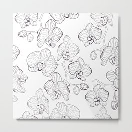 The White Orchid. Black and white pattern . Metal Print