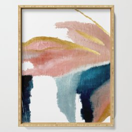 Exhale: a pretty, minimal, acrylic piece in pinks, blues, and gold Serving Tray