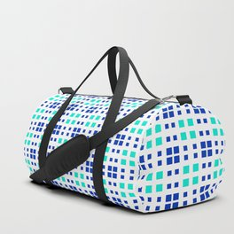 Turquoise Blue Cell Checks Duffle Bag