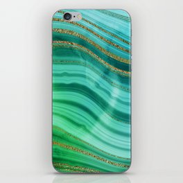 Ocean Blue And Green Mermaid Glamour Marble iPhone Skin