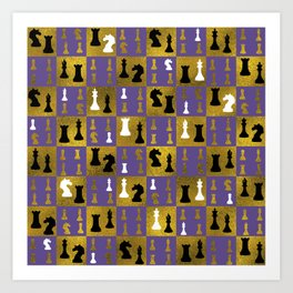Violet Chessboard and Chess Pieces pattern Art Print