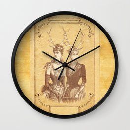 Sisters Emmaline And Cornelia Always Wore The Biggest Hats Wall Clock
