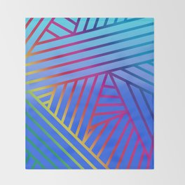 Rainbow Ombre Pattern with Blue Background Throw Blanket
