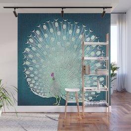 Peacock - Vintage Fantasy Bird Teal Blue Wall Mural