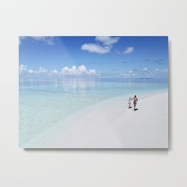 Enjoying the Beach in Maldives Metal Print
