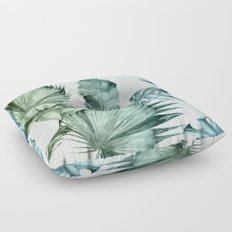 Mod Tropical Palm Leaves in Turquoise Green Blue Gradient Floor Pillow