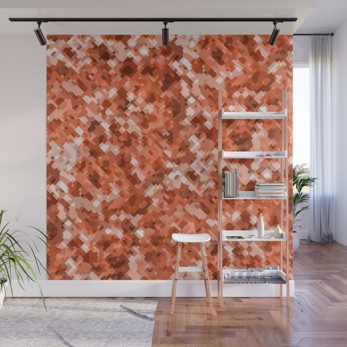 Modern Terrazzo Style Coral Camouflage Pattern Wall Mural By Danadudesign