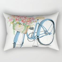 Blue Bicycle with Flowers in Basket Rectangular Pillow