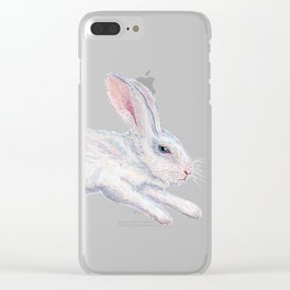 Fluffy White Bunny Clear iPhone Case