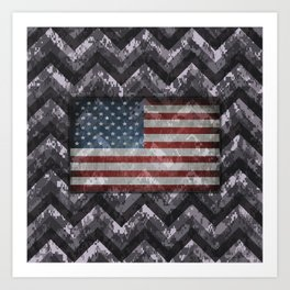 Periwinkle Purple Digital Camo Chevrons with American Flag Art Print